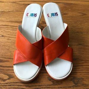 Neon Orange And White Platform sandal
